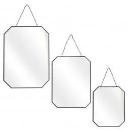 Lot de 3 miroirs avec angles obliques - L 30 x l 0,3 x H 40 cm - Noir