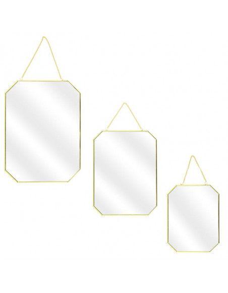Lot de 3 miroirs avec angles obliques - L 30 x l 0,3 x H 40 cm - Doré
