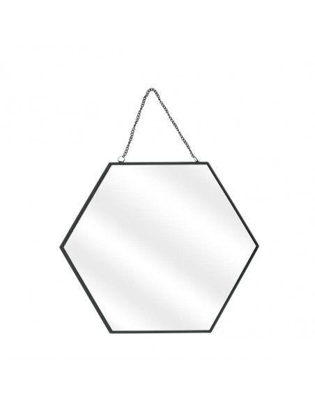 Lot de 3 miroirs avec hexagonal - L 35 x l 0,3 x H 30,5 cm - Noir