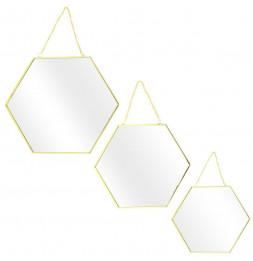Lot de 3 miroirs avec hexagonal - L 35 x l 0,3 x H 30,5 cm - Doré