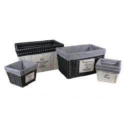 Lot de 4 paniers imitation osier - L 47 x l 32 x H 27 cm - Blanc et Noir