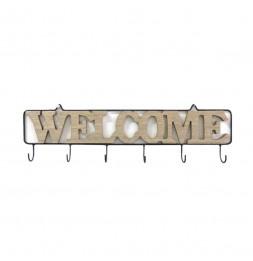 Patère Welcome en bois 6 crochets - L 52 x l 3,5 x H 14 cm - Beige et Noir