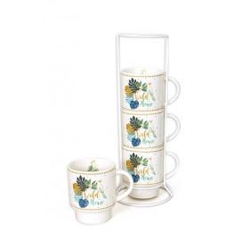 Set de 4 mugs sur colonne - Wild Home - D 7 x H 27 cm - Blanc