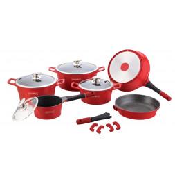Batterie de cuisine revêtement en marbre - 14 pièces - Rouge