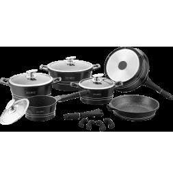 Batterie de cuisine revêtement en marbre - 14 pièces - Noir