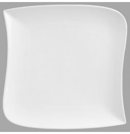 Assiette plate carrée design vague - 30 cm x 30 cm - Porcelaine