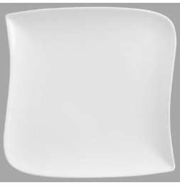 Assiette plate carrée  design vague - 26 cm x 26 cm - Porcelaine