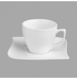 Ensemble tasse à café et coupelle - 9 cl - Porcelaine
