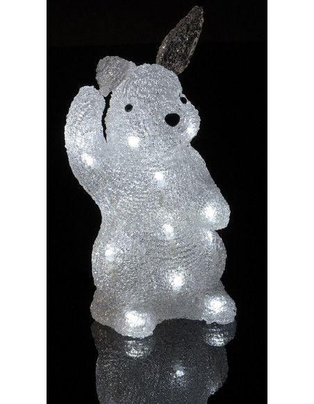 Lapin lumineux blanc 28 cm - 20 LEDs - Décoration de Noël