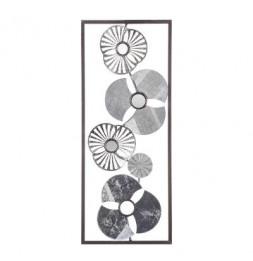 Décoration murale fleurs en métal - L 25 x H 61 cm - Argenté