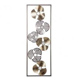 Décoration murale fleurs en métal - L 31 x H 89 cm - Doré