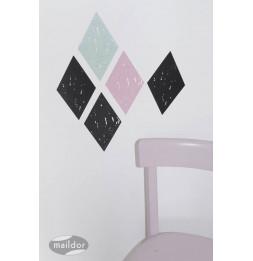 Set de 2 planches de stickers muraux - Losanges - 49 x 69 cm