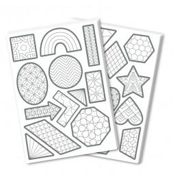 Set de gommettes personnalisables - 20 planches - Géométrie - 14,8 x 21 cm
