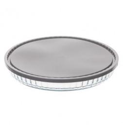 Plat rond en verre avec couvercle - D 27 cm