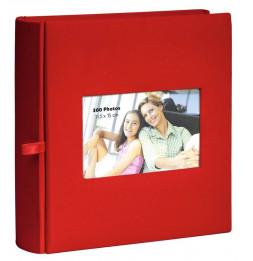 Album photo à pochettes 300 mémos Square - L 23,5 x l 25 cm - Rouge