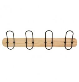 Patère en bois 4 têtes - L 50 x l 7 x H 12 cm