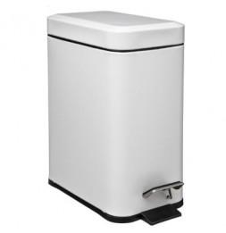 Poubelle rectangle - 5 L - Inox - Blanc