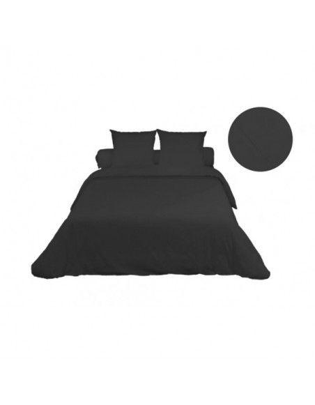Housse de couette en coton percale Camille - 220 x 240 cm - Noir