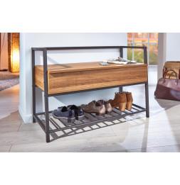 Banc à chaussures en métal - L 90 x l 39 x H 61 cm - Beige et Noir