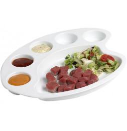 Assiette en porcelaine style palette de peintre - L 29,5 x l 25,8 x H 4 cm - Blanc