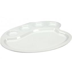 Assiette en porcelaine style palette de peintre - L 28 x l 24,2 x H 1,5 cm - Blanc