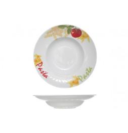 Assiette à pâtes en porcelaine - D 27,5 x H 5,5 cm - Blanc