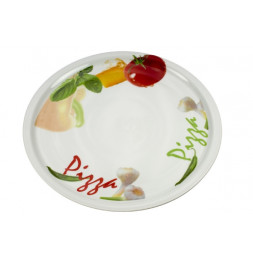 Assiette à pizza en porcelaine - D 30 cm - Blanc