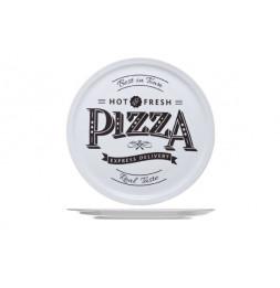 Assiette à pizza imprimée en porcelaine - D 30 cm - Blanc