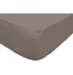 Drap housse - 140 x 190 cm - Taupe - 100% coton