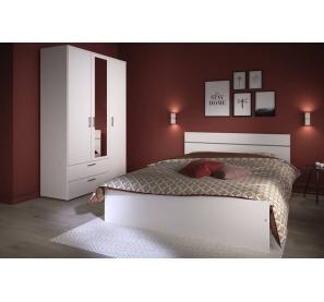 Armoire 3 portes et 2 tiroirs avec miroir - Gamme Kaly - l 120,5 x P 44,4 x H 180,6 cm - Blanc