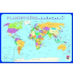 Poster planisphère effaçable à sec - L 76 x l 52 cm