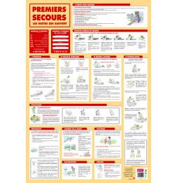 Poster premiers secours effaçable à sec - L 76 x l 52 cm