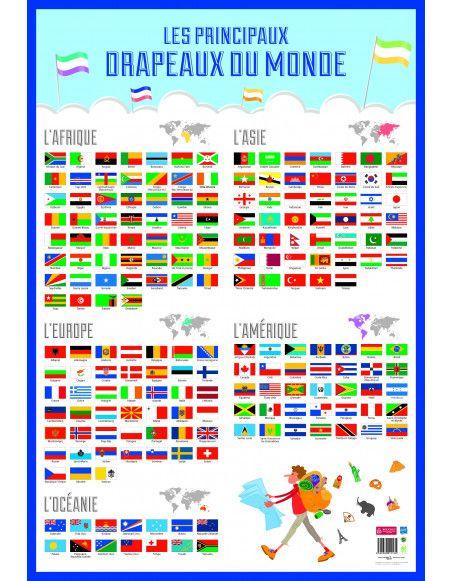 Poster drapeaux du monde effaçable à sec - L 76 x l 52 cm