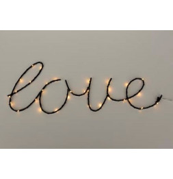 Décoration murale 30 LED Love - L 40 x l 21 cm - Noir