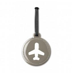 Etiquette de bagage ronde - Gris