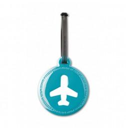 Etiquette de bagage ronde - Bleu