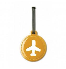 Etiquette de bagage ronde - Jaune moutarde
