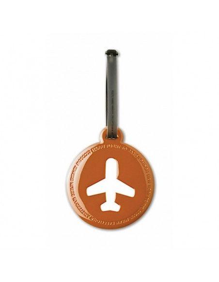 Etiquette de bagage ronde - Orange foncé