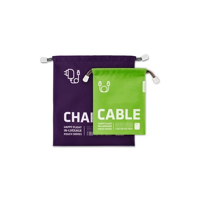 Lot de 2 Pochettes de rangement chargeur et câble - Violet et vert