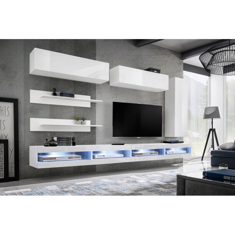 Ensemble TV mural - FLY W1 - 320 x 40 x 180 cm - Blanc