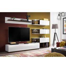 Ensemble meuble TV mural  - ABW Silk - 240 x 40 x 150 cm - Blanc