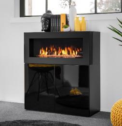 Commode de rangement avec cheminée - 90 x 40 x 100 cm - Noir