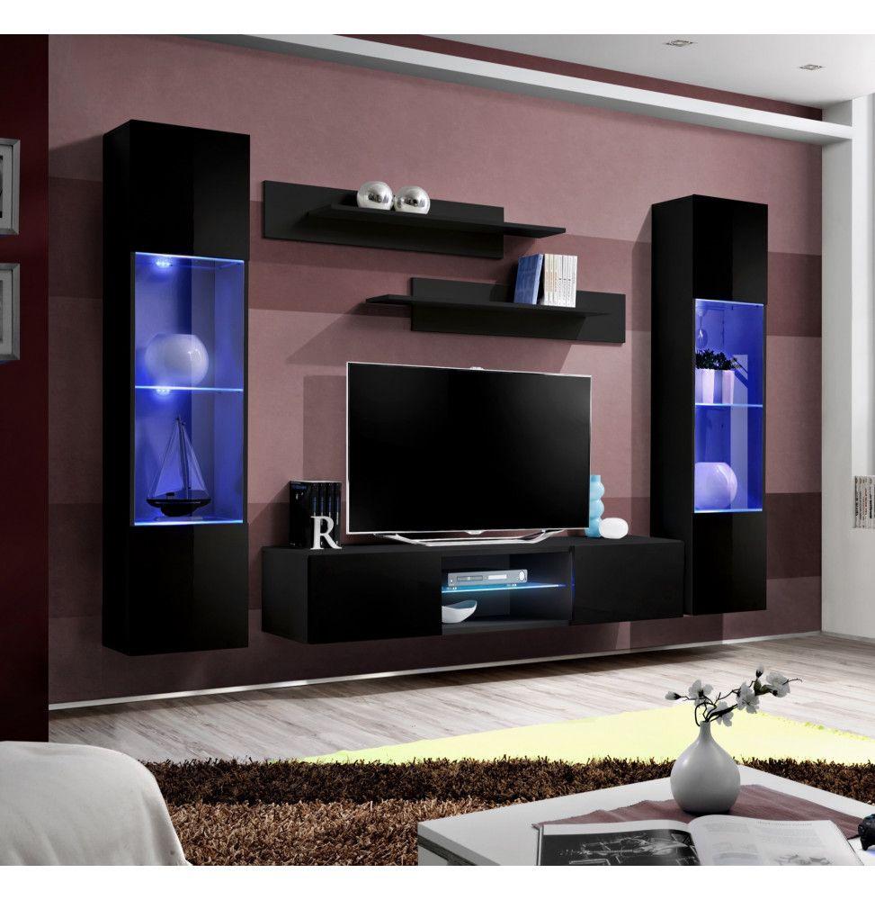 ensemble meuble tv mural  fly o3  260 x 40 x 190 cm  noir