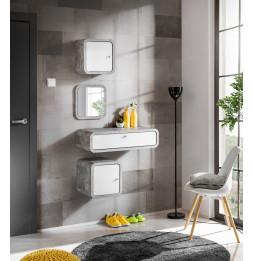 Ensemble de 4 petits meubles - WALLY 1 - Blanc et gris