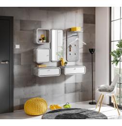 Ensemble de 6 petits meubles - WALLY 6 - Blanc et gris