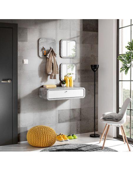 Ensemble de 4 petits meubles - WALLY 2 - Blanc et gris