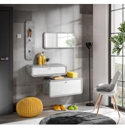 Ensemble de 4 petits meubles - WALLY 5 - Blanc et gris