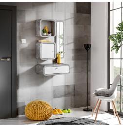 Ensemble de 4 petits meubles - WALLY 3 - Blanc et gris