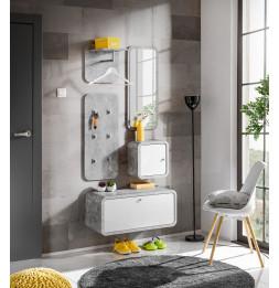 Ensemble de 5 petits meubles - WALLY 4 - Blanc et gris