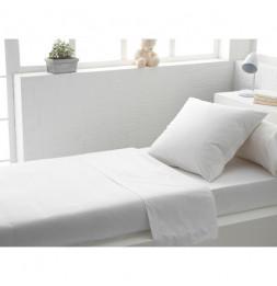 Drap plat uni en coton - 180 x 290 cm - Blanc